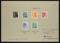 Germany: 1947-48 2 pf. brown-black, 16 pf. blue-green, 25 pf. orange, 60 pf. red, 80 pf. grey-blue and 84 pf green colour trials on card.